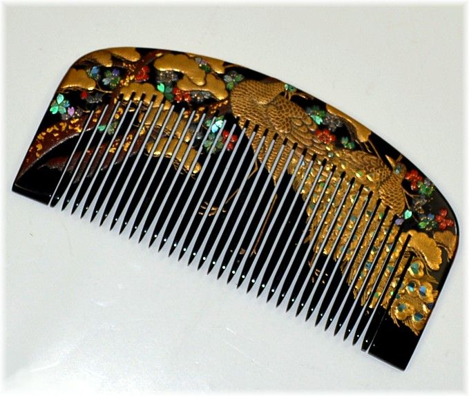 Japanese traditional comb, 1920's. Peacock in gold, raden flowers and coral flowers.