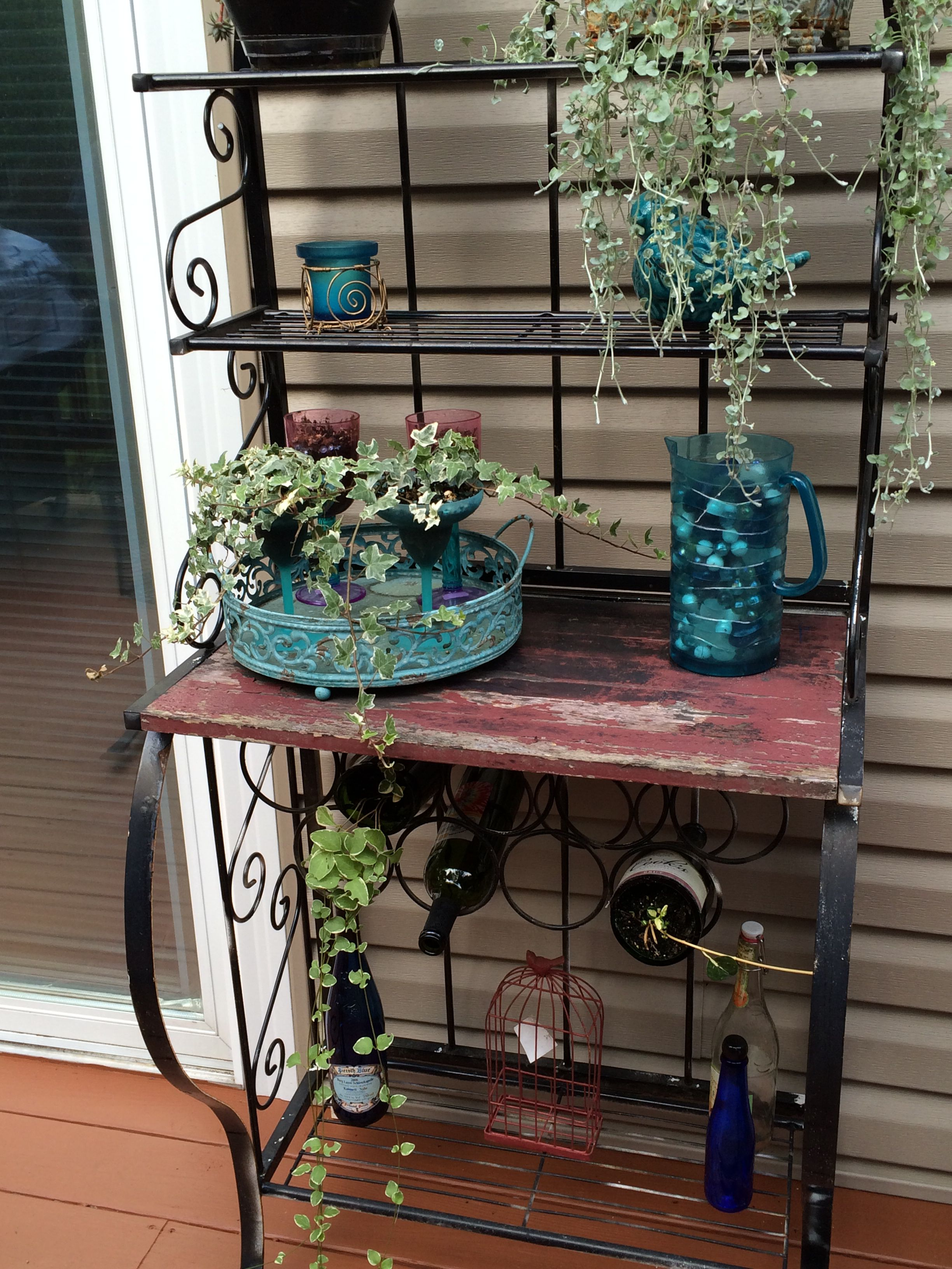 My Repurposed Bakers Rack Outdoor Bakers Rack Potting Bench
