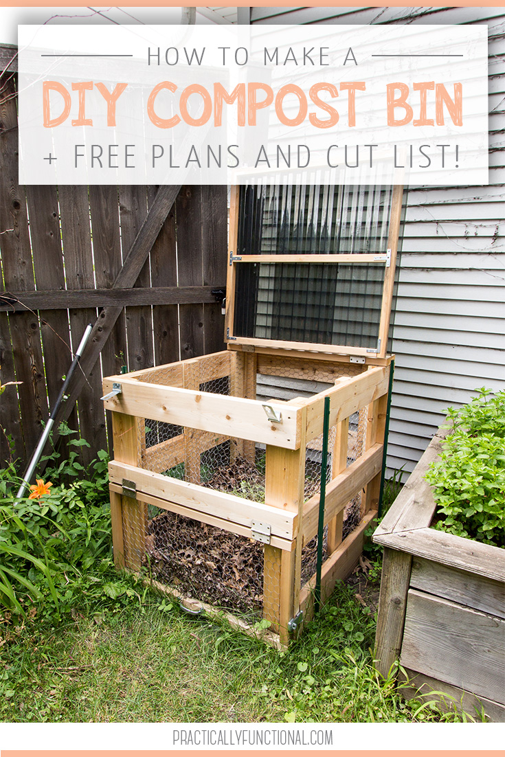 How To Build A DIY Compost Bin + Free Plans & Cut List! is part of Diy compost, Compost bin diy, Diy garden projects, Garden compost, Compost, Compost bin - This DIY compost bin is sturdy, easy to open, has good airflow, and latches closed to keep out critters! Get the free plans here, plus see the full tutorial to build your own!