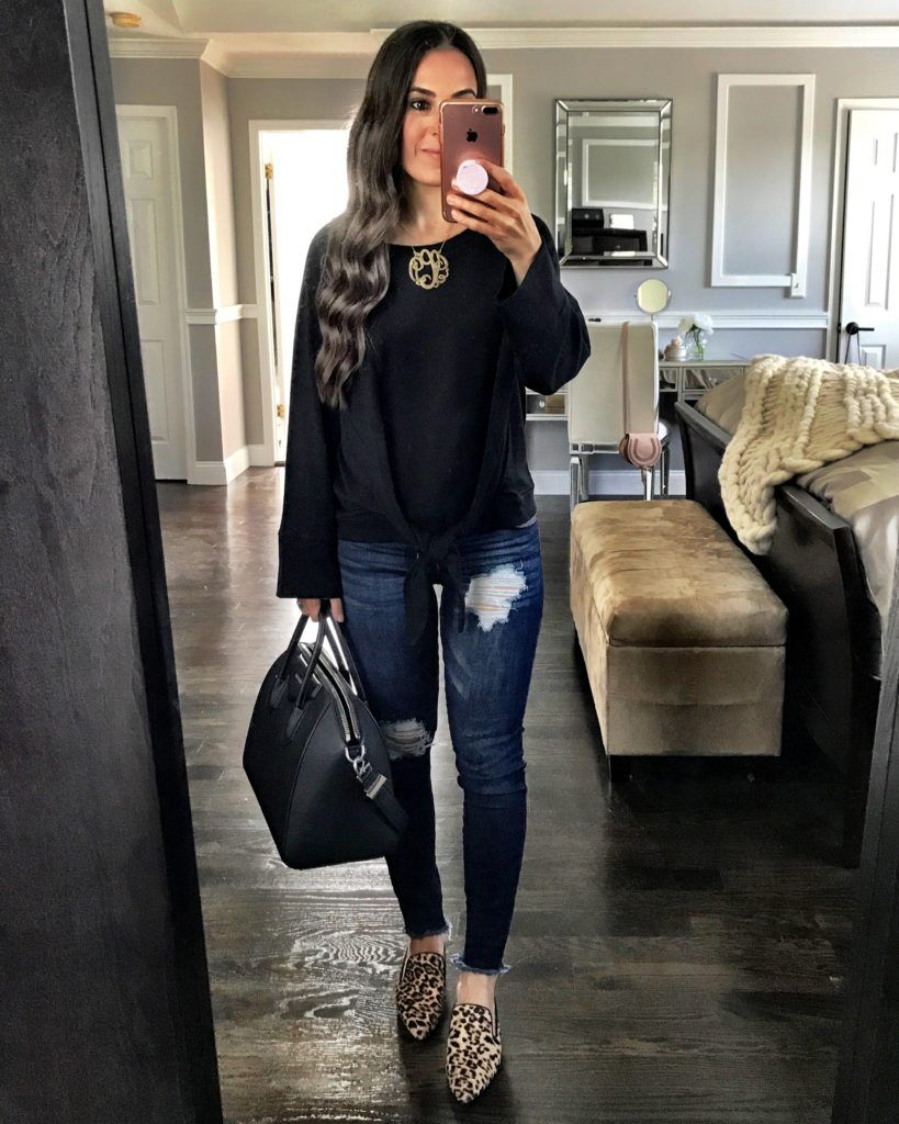 8b50b8e7 Black tie top, monogram necklace, ripped skinny jeans, leopard mules, and  black Givenchy bag | Leopard mules outfit
