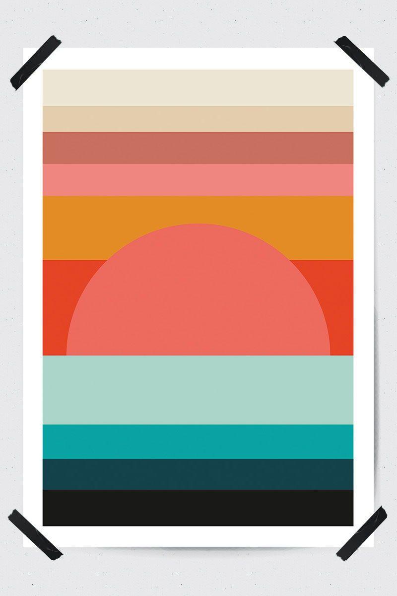 Sunset Sunrise Geometric Landscape Sea Prints Printable Wall Art Fluorama Fluoramaposters Geometricprint Geomet Art Paper Collage Art Sunset Landscape Art