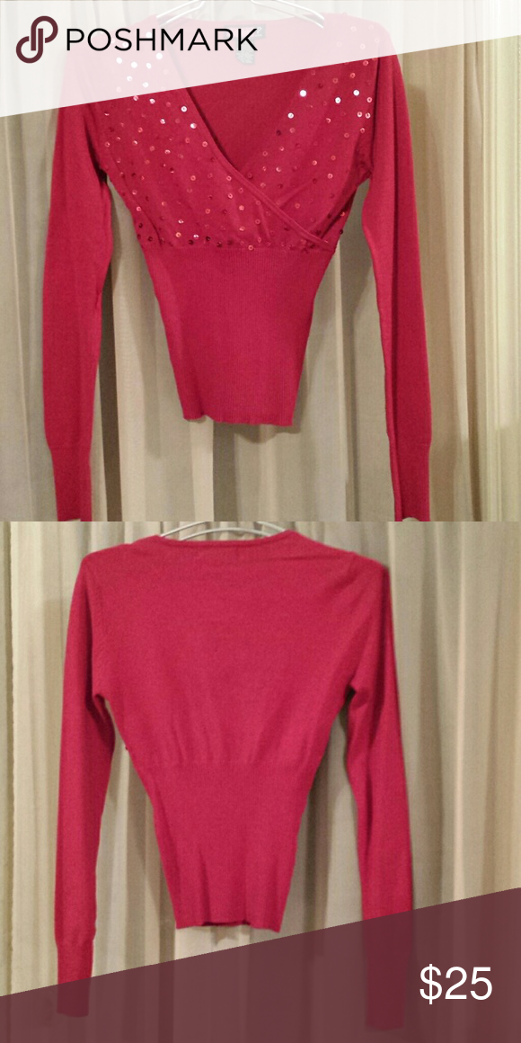 Deep Vee Red Sweater W/Sequins. Size Small | Red sweaters, Sequins ...