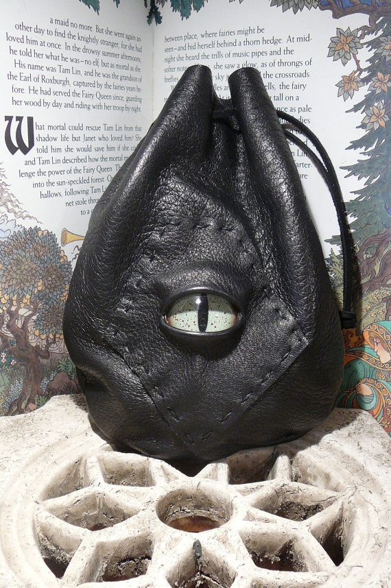 Medium Black leather bag with Green Dragon by AbbotsHollowStudios, $29.95