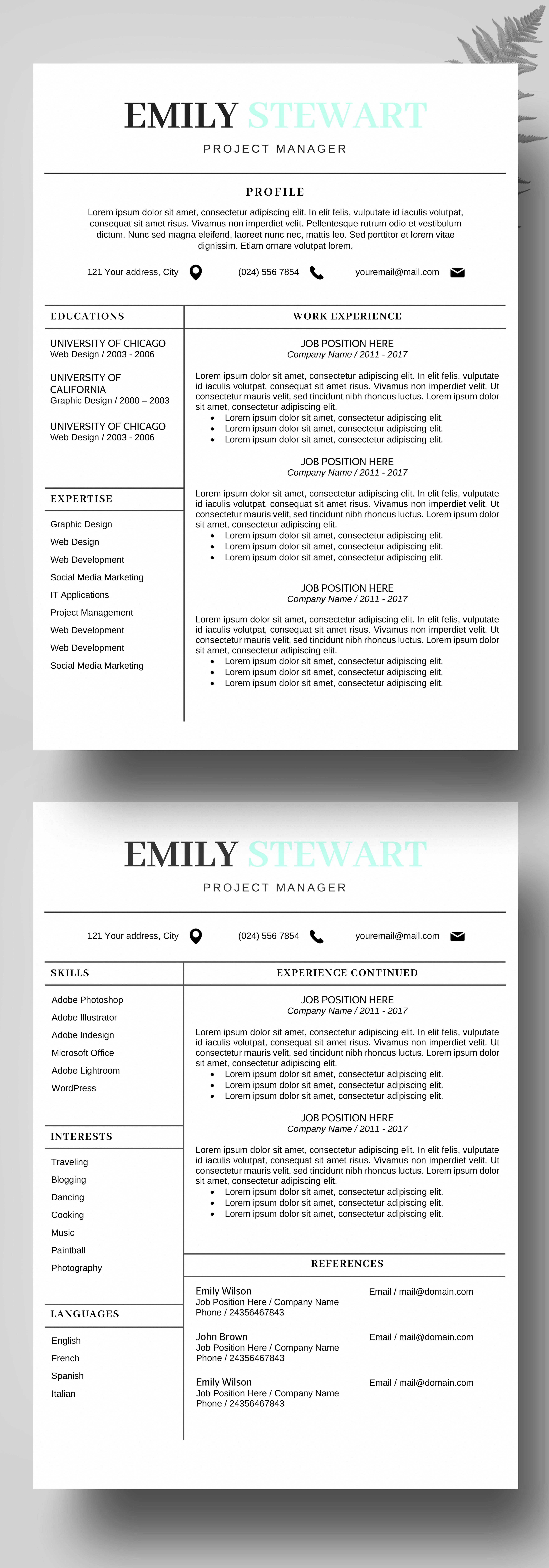 Resume Template, CV Template for MS Word, CV Template, Cover Letter ...