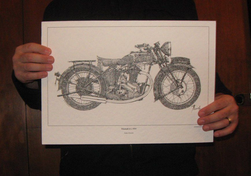 Triumph 6-1 1934  Signed Fine Art Limited Edition Print from my original drawing -11.516 https://t.co/zxarZ9jcUx https://t.co/1KDLhRzQgB
