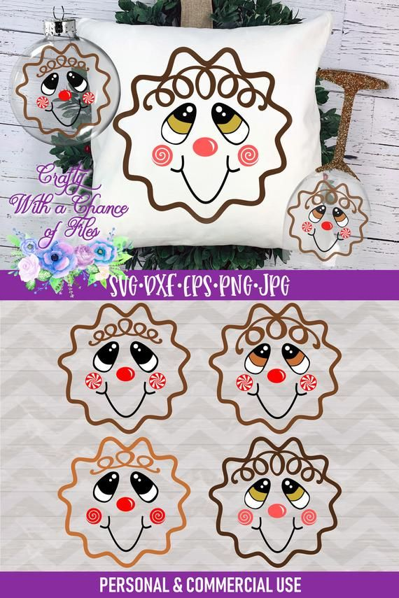 Gingerbread Man Face SVG Christmas Ornament/Bauble
