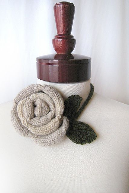 Rose necklace - top 8 free knitted jewellery patterns - find them all on the Let's Knit blog!