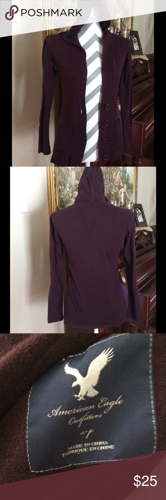 American eagle cardigan with hood Burgundy  cardigan with hood, two pockets button down. Great condition American Eagle Outfitters Sweaters Cardigans