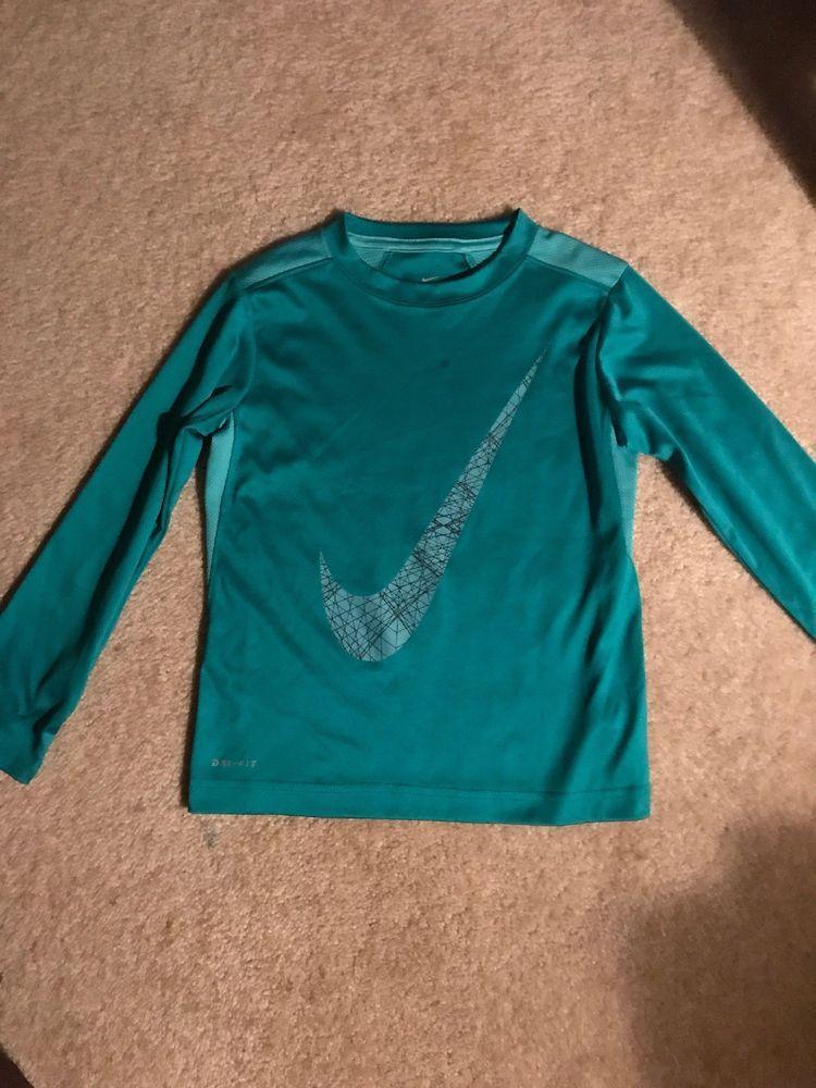 c9ec08654fd5e Youth Boys Nike Drifit Long Sleeve Shirt Green Size 6 Swoosh On ...