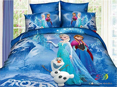 Princess Elsa Anna Frozen Cartoon Bedding Set Flat Sheet Queen Twin Size Duvet Cover Bed Sheet Pillow Case Frozen Bedroom Frozen Bedding Disney Frozen Bedroom