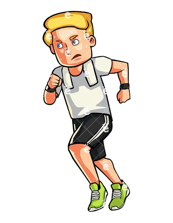 Caucasian Man Jogging Cartoon Vector Clipart Friendlystock Workout Pictures Best Workout Routine Guy Pictures