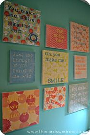 A wall of quotes for my craft room, love love love this idea. Thanks to 'the cards we drew'