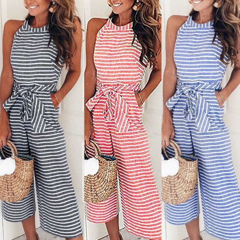 6588b0d810f 2018 summer womens jumpsuit romper sleeveless striped jumpsuit casual  clubwear wide leg pants romper womens jumpsuit