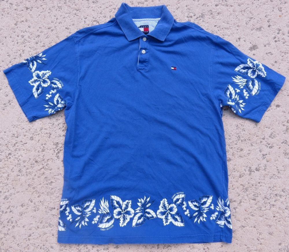 0323b5fa Vintage Tommy Hilfiger Men's Blue Hawaiian Flower Button Polo Spell Out  Size XL #TommyHilfiger #Hawaiian