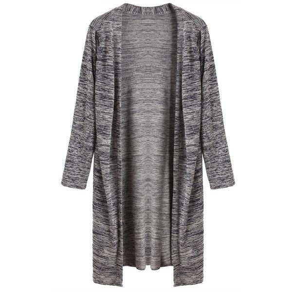 Heather Grey Side Slit Long Cardigan (£12) ❤ liked on Polyvore featuring tops, cardigans, grey, short-sleeve cardigan, heather grey cardigan, grey long sleeve top, stretch top and long sleeve stretch top