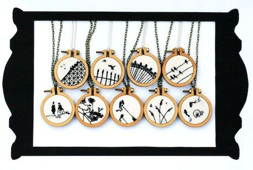 Silhouette Necklace Collection by Loadofolbobbins aka me (Hand Embroidery)