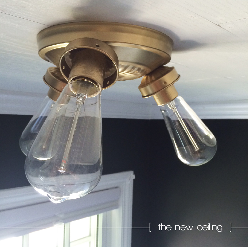 Ceiling Light Fittings Diy : Powder room reno diy oak plank ceiling and gold light