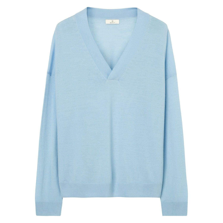 4b7568b098 GANT Damen Weiter V-Neck Strickpullover (XL) Blau Jetzt bestellen unter   https