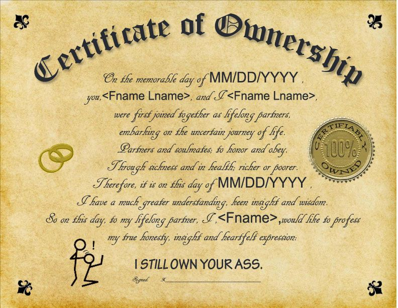 Personalized Certificate of Ownership Wedding, Gag gift Novelty just ...