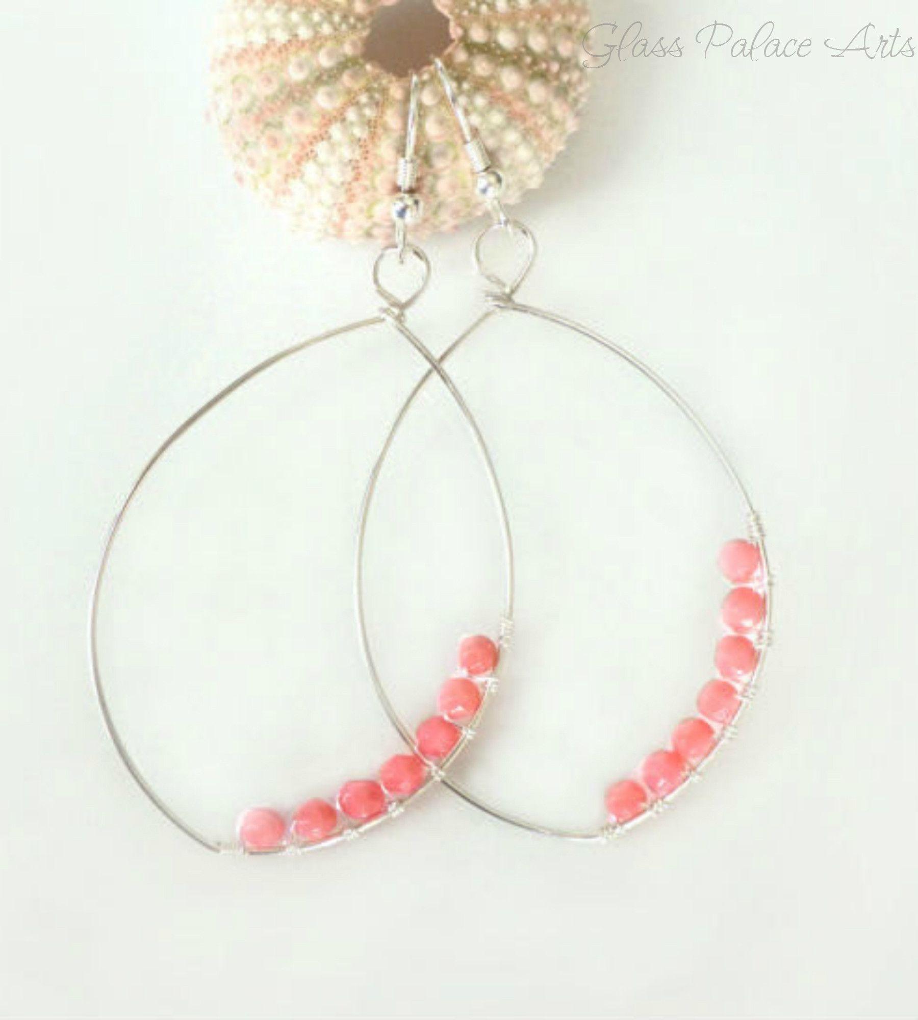 Pink Coral Wire Wrapped Earrings - Beaded Coral Hoop Earrings | Wire ...