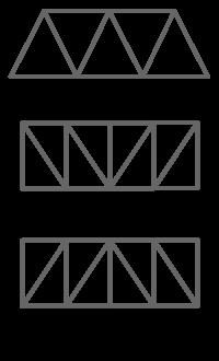 トラス (Truss) は、三角形を基本単位としてその集合体で構成する構造形式。結構ともいう。  > Truss - トラス - Wikipedia