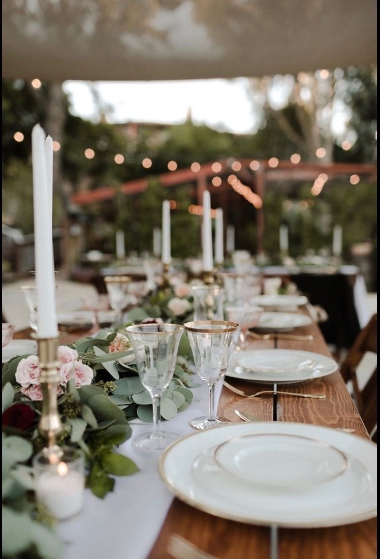 Rustic farm table rentals in San Diego, Ca. Rose Gold