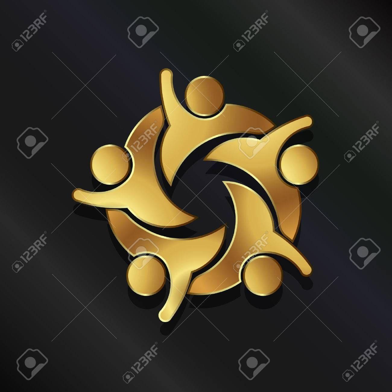 Stock Vector Art logo, Teamwork, Group of five