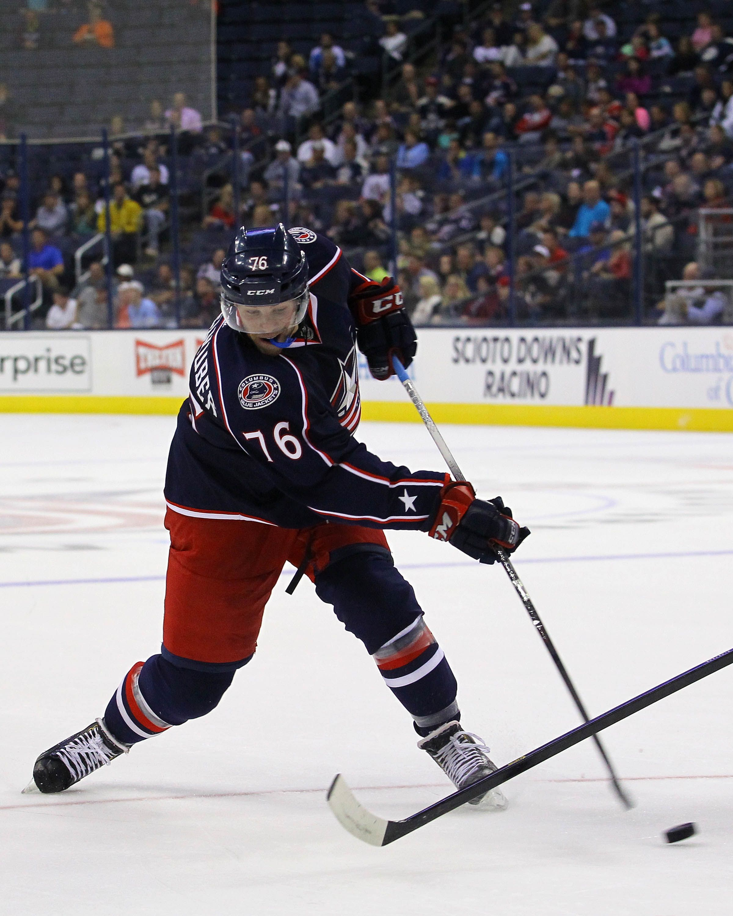 CrowdCam Hot Shot: Columbus Blue Jackets forward Trent Vogelhuber takes a shot on goal during the 2nd period of the game against the Pittsburgh Penguins at Nationwide Arena. Photo by Rob Leifheit