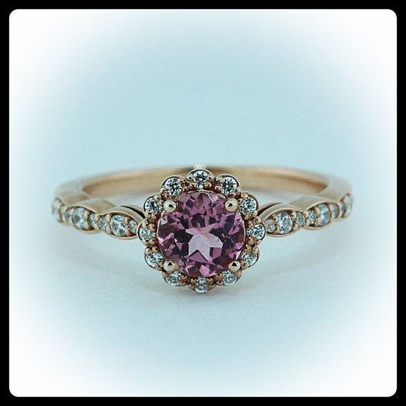rose gold pink tourmaline engagement ring #engagementring #serenadediamonds #etsy - $975.00