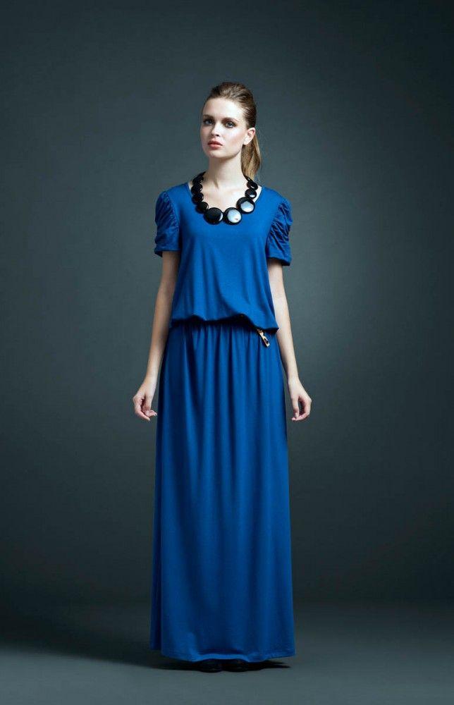 Vestido Malha Longo Manga Drap Azul Iaiá