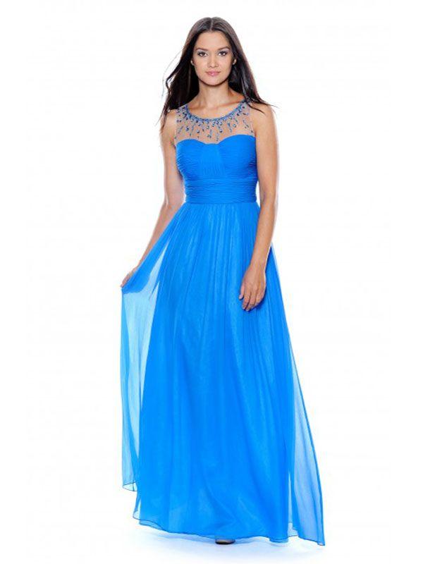 2015 New A-line Bateau Sleeveless Chiffon Blue Evening Dresses #WG4623