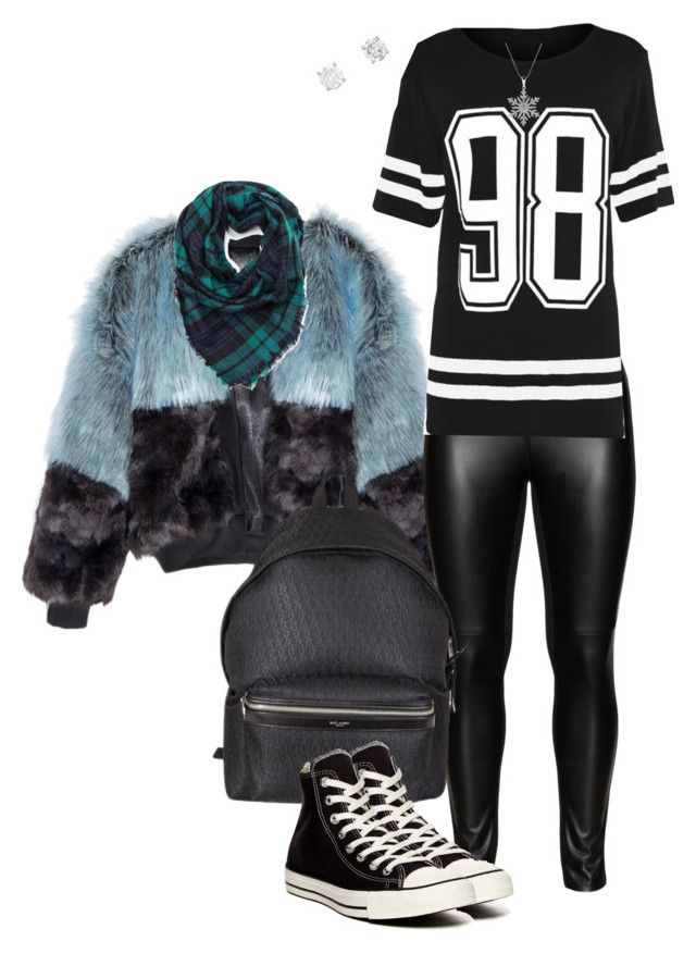 """""""Styling 1"""" by afashionpage ❤ liked on Polyvore featuring Studio, Yves Saint Laurent and Converse"""