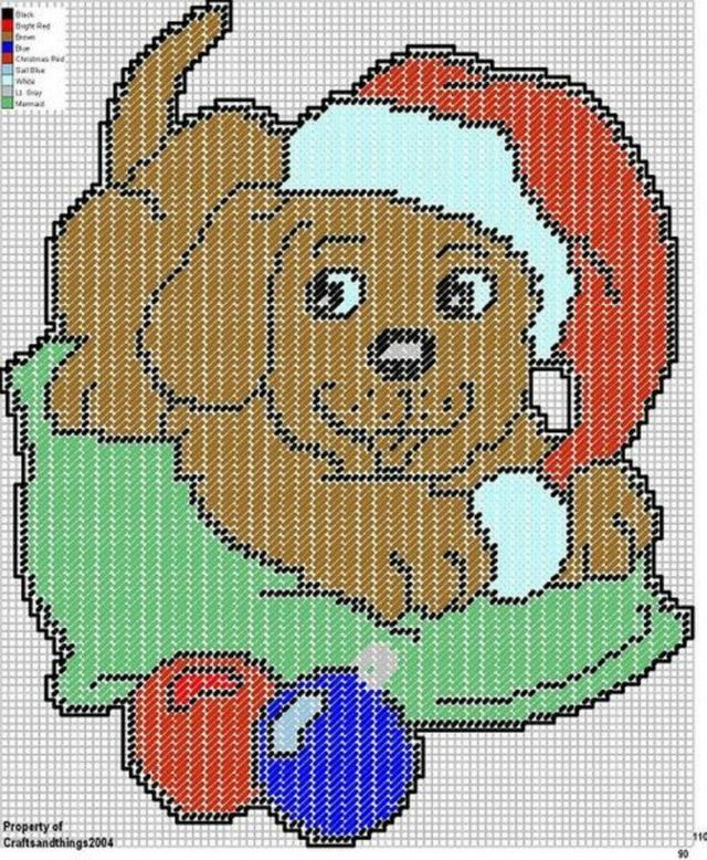 SANTA HAT PUPPY WALL HANGING by CRAFTSANDTHINGS2004