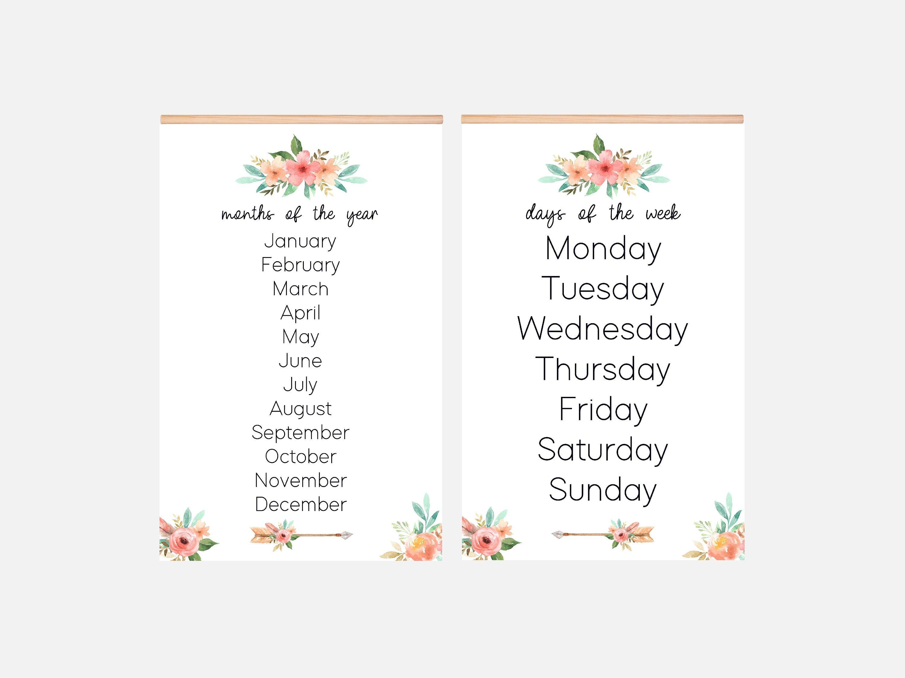 11x17 Set Of 2 Laminated Posters Educational Homeschool Etsy In 2020 11x17 Months In A Year Education Poster