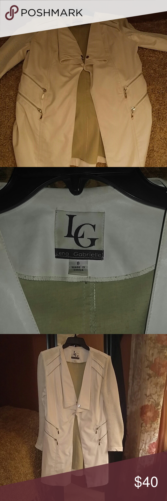 Faux Leather Jacket Off white car length jacket with