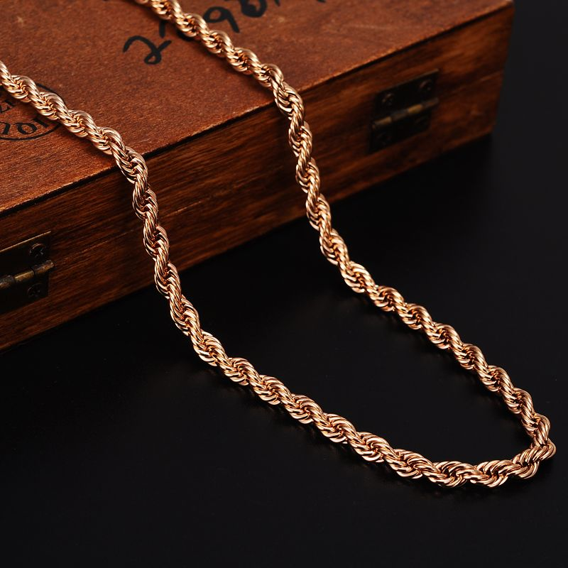 Bangrui Rose Gold Rope Chains For Men Necklace Trendy Men Jewelry Twisted Singapore Chain Venitien Rose Gold Chain Mens Black Hills Gold Jewelry Chains For Men