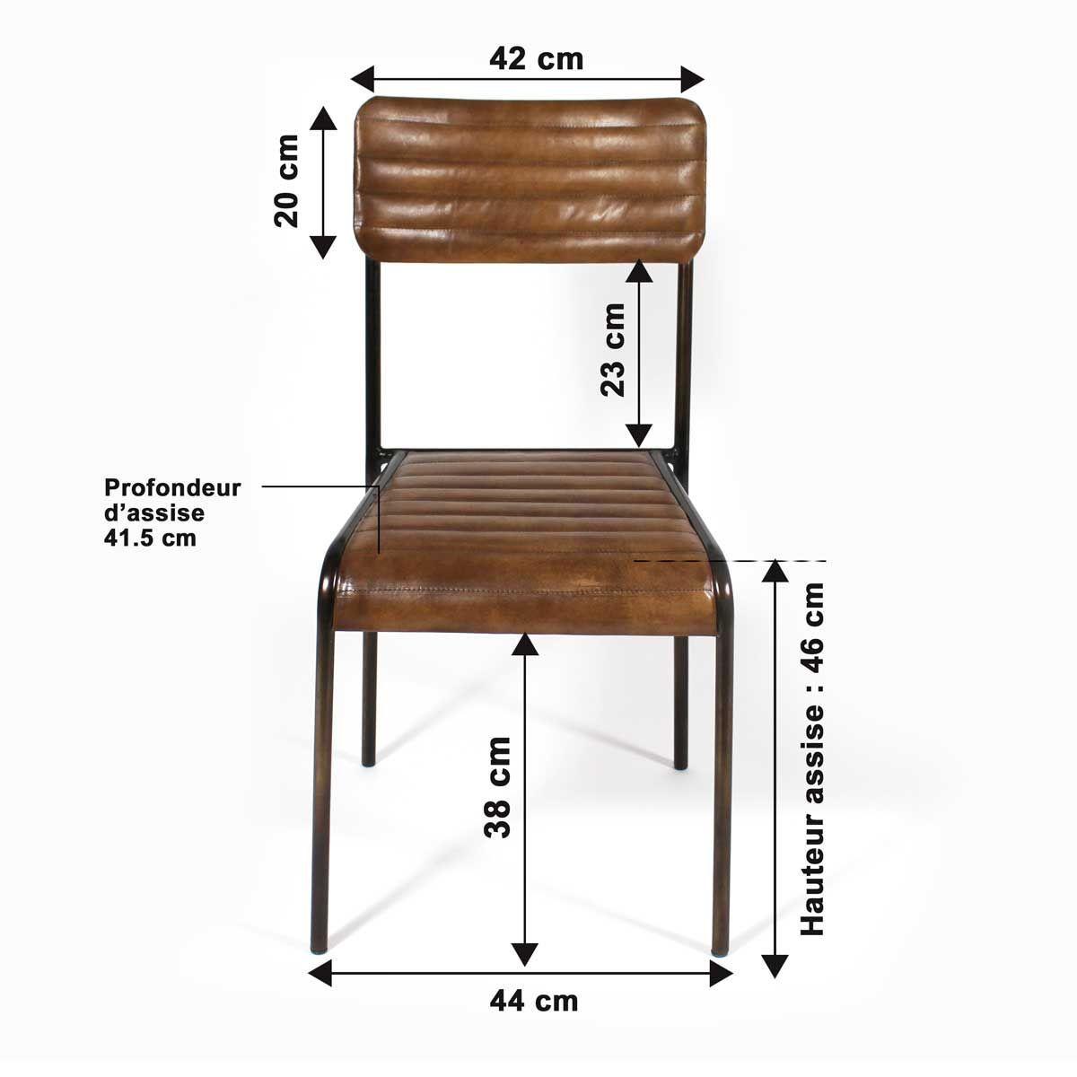 Chaise Industrielle Classique Cuir Et Metal Style Bistrot Me