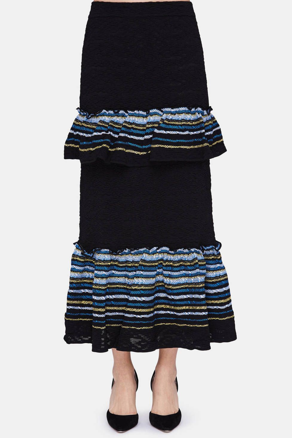 Peter Pilotto's resort 2017 collection offers a fresh take on the dress: a cropped top paired with a long skirt. Designers Pilotto and Christopher de Vos drew upon Latin American motifs as inspiration for the ruffled panels that add movement to the elongated silhouette. This long skirt is made in Italy of textured jacquard: solid navy accented by striped flourishes. The elasticated-waist style pulls on for a close fit. Pair with the matching top.