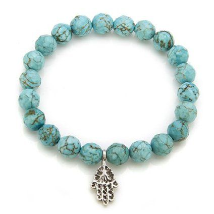 Satya Jewelry Health And Healing Silver Turquoise Stretch Bracelet