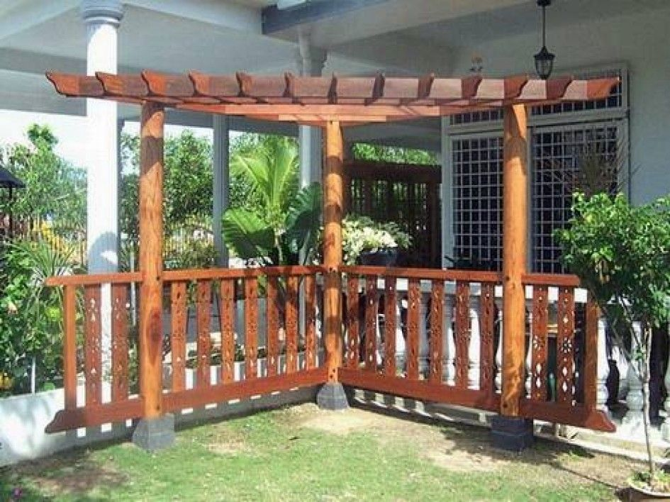 Wood Corner Pergola Shade Attached To House For Patio