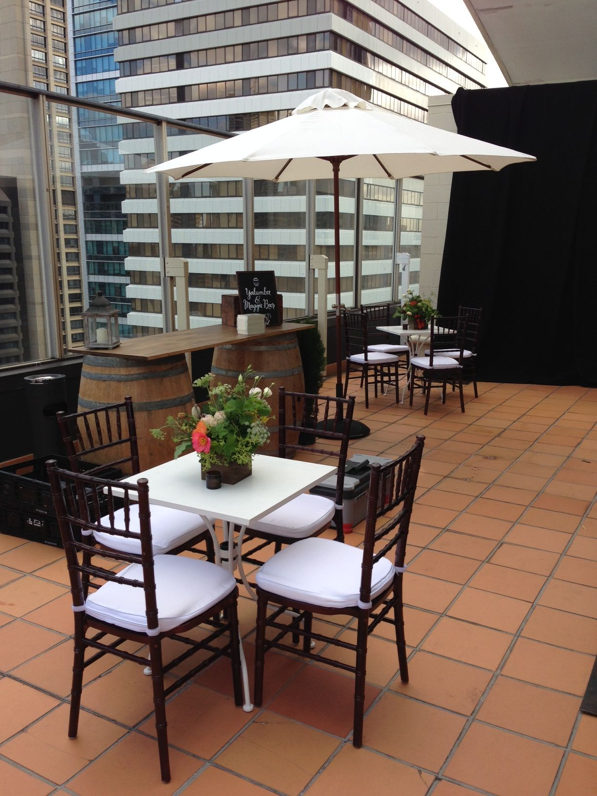 Hampton Event Hire Walnut Tiffany Chairs White Cafe Tables Market Umbrella Servicing Byron Bay Gold Coast Brisbane