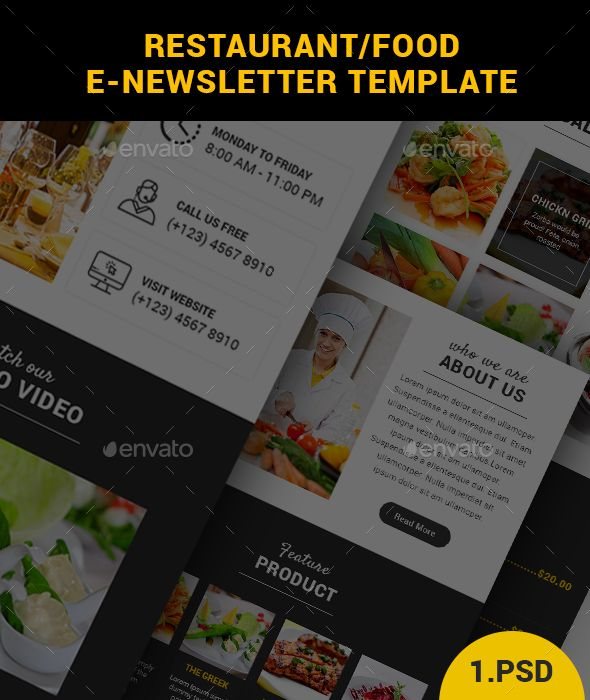 restaurant food e newsletter template e newsletters web elements