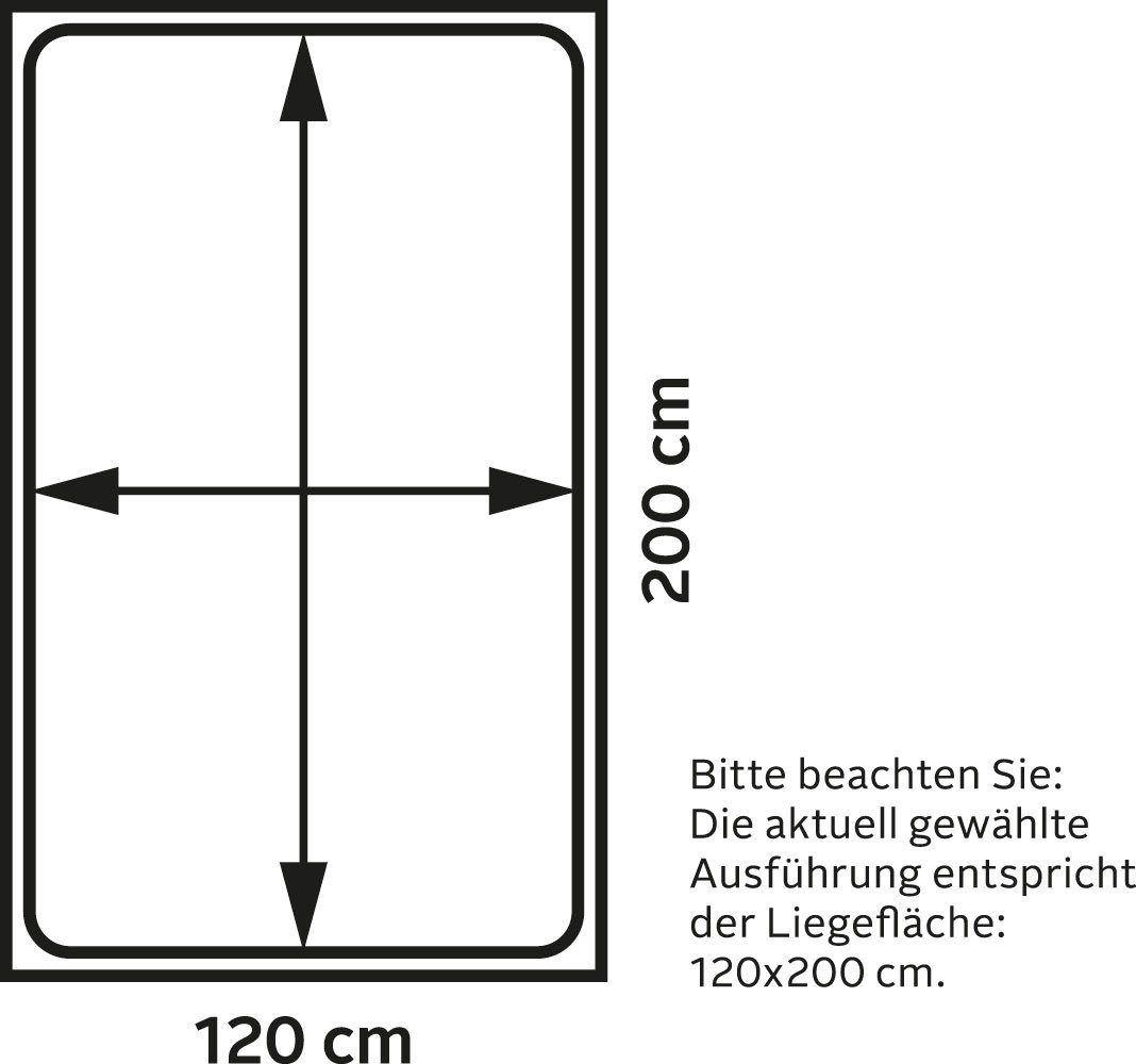 Westfalia Schlafkomfort Polsterbett, grau, inkl. Bettkasten