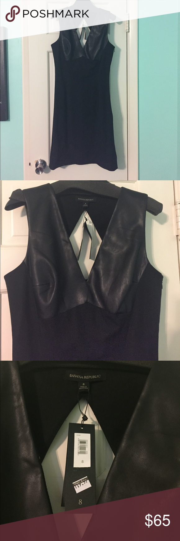 Banana Republic Sloan Dress Black Leather 8 NWT Banana Republic Sloan Dress in black/faux leather size 8 NWT. Made with signature stretch fabric to hold its shape and flatter your figure. Banana Republic Dresses Mini