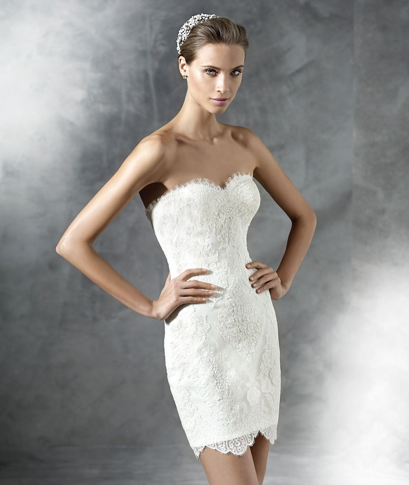 Lovely Sweetheart Short Lace Sheath Column Wedding Dress Apr0134