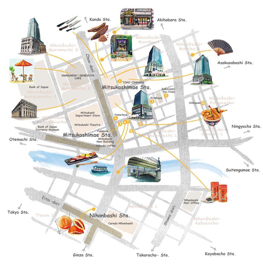 日本橋イラストマップ 手描き地図 イラストマップ 地図 シティマップ