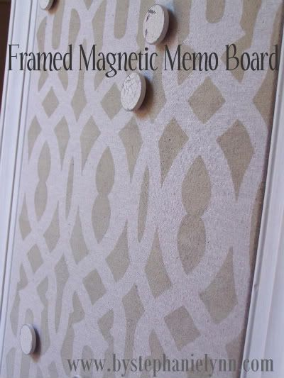 stencils can be used on all kinds of things this magnetic memo board is a great way to use the trellis allover such a great idea