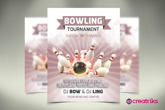 Bowling Brochure Flyer Template Set Vector Stock Photo (Photo