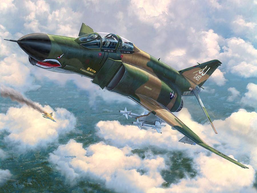 Aviation Wall Art f-4e phantom ii 'mig killers' (stu shepherd) | 1000+ modern