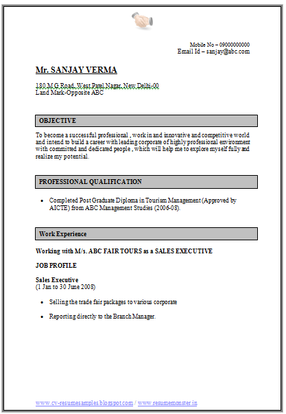 Cv Format For Sales And Marketing Job Resume Template Job